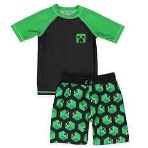 Minecraft Boys Green Rashguard Trunk Swim Set XS/4